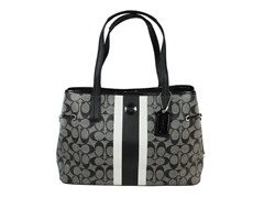 Coach Signature Stripe Carryall, Blk/White