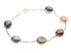 14kt Gold Multi-Colored Pearl Bracelet