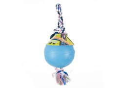 Durable Romp Roll Dog Pet Ball Toy: Light Blue- Multiple Sizes
