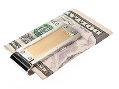 Brushed & Polished 14K Gold Plated SS Money Clip With Screw Design