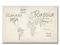Typography World Map 18x24 Canvas