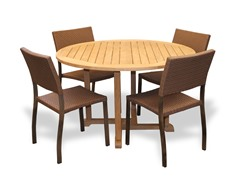 48-Inch Table, 4 Bronze Sidechairs