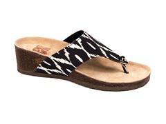 Cara Thong Wedge Sandal, Black/White