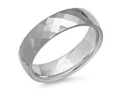 Tungsten Band Ring w/Diamond Shape