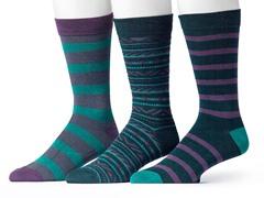 Muk Luks Men's 3 Pair Pack Socks, Green/Purple