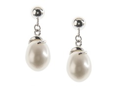 SS & Freshwater Pearl Ball Earrings