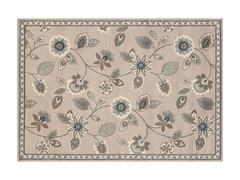Stone/Blue Griffin Floral Rug (5-Sizes)