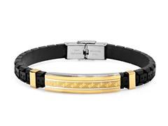 2-Tone Bracelet w/ Greek Key Accent