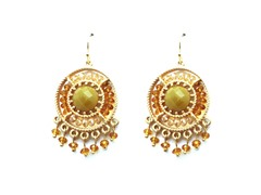 Gold-Plated & Glass Bead Dangling Earrings - Yellow