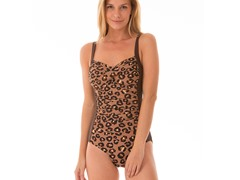 Ocean Jewel Maillot Swimsuit, Brown Leop