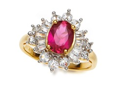 SS, Ruby & White Sapphire Cocktail Ring