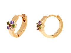 18k GP Dark Multi Color Crystal Flower Huggie