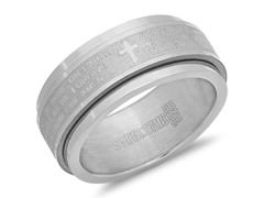 Stainless Steel Spinner Ring w/ Prayer