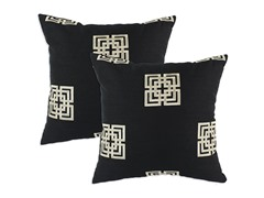 Key Black Embroidered 17x17 Pillows-S/2