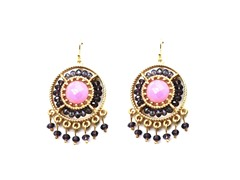 Gold-Plated & Glass Bead Dangling Earrings - Purple