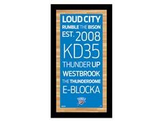 """Oklahoma City Thunder 9.5"""" x 19"""" Sign"""