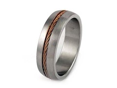 SS Band With Rose Gold Plated Braided Inlay