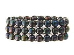 3 Rows Black Freshwater Pearl Bracelet