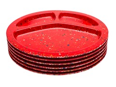 Red Confetti Divided BBQ Plates S/6