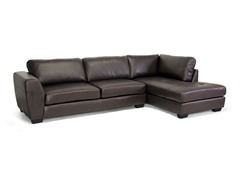 Orland Brown Leather Modern Sectional Sofa Set with Right Facing Chaise
