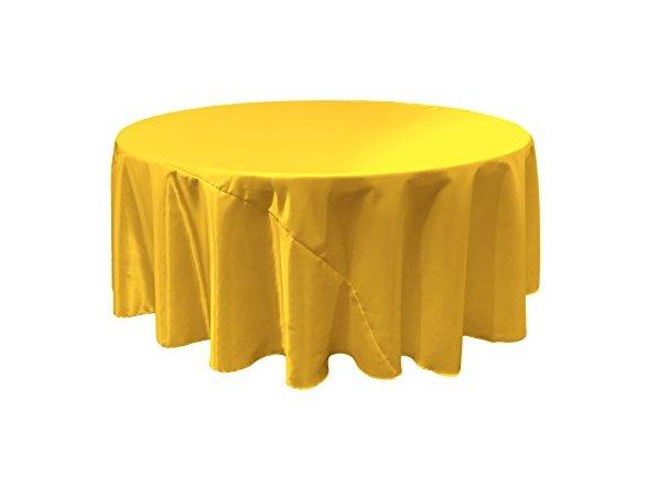 LA Linen Bridal Satin Round Tablecloth, 132 Inch, Yellow