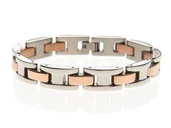 "14K Rose Gold Plated ""H"" Link Bracelet"