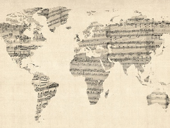 sheet music world map Old Sheet Music World Map 18x24 Canvas