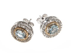 Silver & 14k Gold Aquamarine Earrings