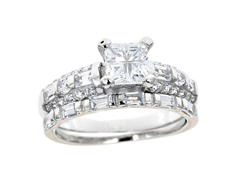 18kt WG Plated SS Baguette Cut Engagement Ring Set