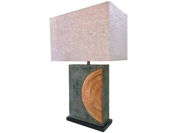 Rustic Sun Table Lamp With Large Rectangular Shade