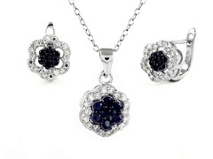 Sterling Silver Black Flower Set