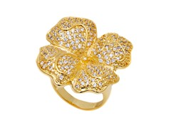 18K GP Simulated Diamond Flower Petal Ring
