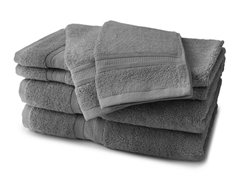 MicroCotton 6-Piece Towel Set - Steel