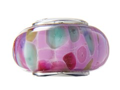 Pink Mulicolored Glass Bead