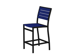 Euro Counter Chair, Black/Pacific Blue