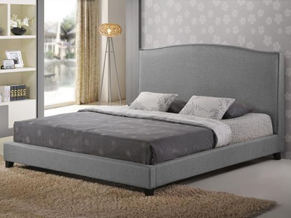 Aisling Gray Fabric Platform Bed King