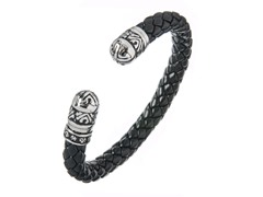 Black Braided Leather Cuff Bracelet