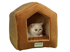 Cave-Shaped Pet Bed - Brown & Beige