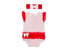 Red Polka-Dot Bodysuit Set (0-3M)