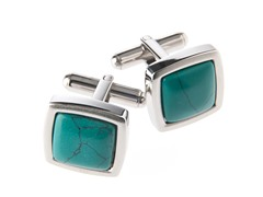 Brushed SS & Genuine Turquoise Square Cufflinks