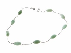 Sterling Silver, Jade Station Necklace