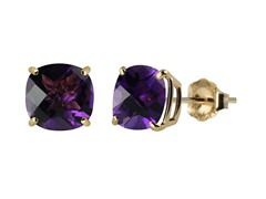 10K YG Stud Earrings, Amethyst