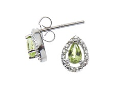 Sterling Silver Peridot Gemstone w/Diamond Studs
