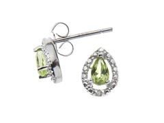 Sterling Silver Peridot Gemstone w/Diamond Studs