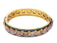 18K Gold-Plated SS Pink Quartz Semi-Precious Gemstone Bangle