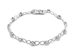 SS Infinity Heart Diamond Accent Tennis Bracelet