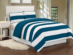 Delia Stripe Duvet Set-Cobalt-2 Sizes