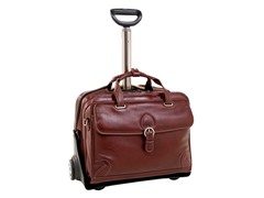 "Carugetto Leather 17"" Wheeled Laptop Case"