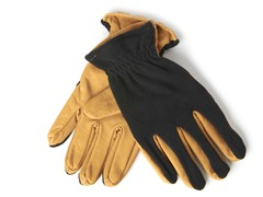 Men's Leather/Fleece Gloves- Black/Tan