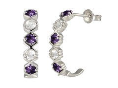 SS Amethyst & White Topaz J Hoop Earrings